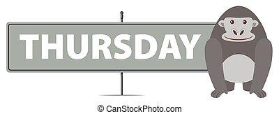 Thursday sign with gorilla illustration