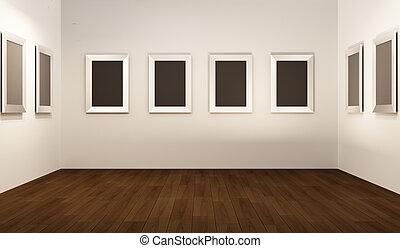 thw, showroom., opróżniać, perspektywa, interior., układa, biały, przód, ganek, ściana