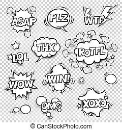 Thx, ASAP, PLZ, WTF, LOL, ROTFL, WOW, WIN, OMG, XOXO. Comic...