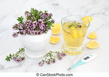 Thyme Herb and Lemon for Natural Cold and Flu Remedy