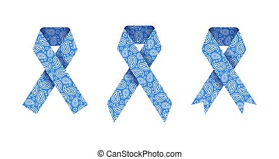 Thyroid awareness month. Set of blue paisley ribbons for medical designs. Vector illustration isolated on a white background.