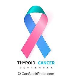 Thyroid Cancer Awareness Month. Realistic Teal Pink Blue ribbon symbol. Medical Design. Vector illustration