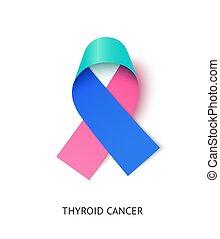 Thyroid cancer awareness ribbon vector realistic illustration