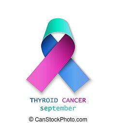 Thyroid cancer ribbon realistic ill