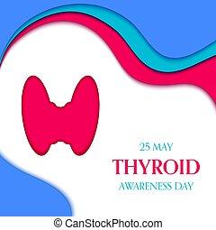 Thyroid disorder awareness papercut ribbon medical poster