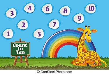 ti, æn, antal, giraf, siddende, felt, optælling