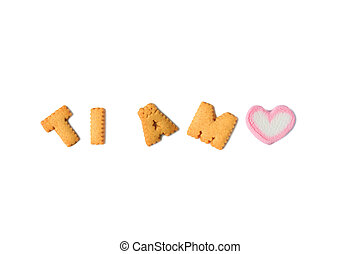 TI AMO Meaning I Love You in Italian spelled with alphabet shaped biscuits and a heart shaped marshmallow candy on white background