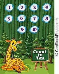 ti, giraf, træer, æn, optælling, baggrund, antal