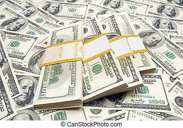 ti, penge, tusind, dollar, baggrund, stacks
