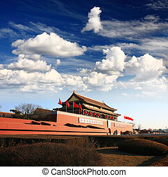 Tian-An-Men Gate in Beijing - Tian-An-Men Gate in center of...
