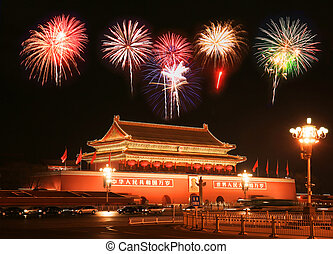 Tian-An-Men Square in central Beijing - with a firework...