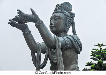 tian bronzent, complexe, bouddha, statue
