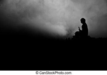 tian, silueta, bronceado, buddha
