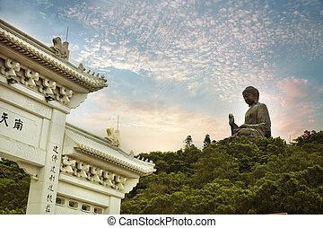 Giant bronze Buddha statue in Hong Kong, China
