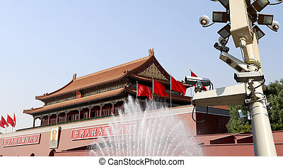 Tiananmen gate tower to the Forbidden City north of Tiananmen Square, Beijing, China