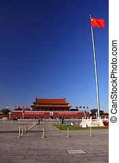 Tiananmen Square and flag