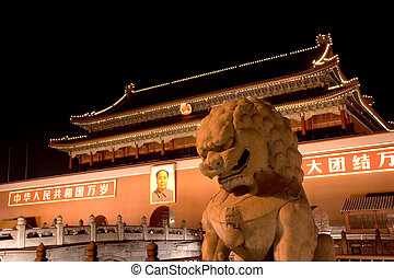 Tianenmen Square Beijing - Tianenmen Square at night...
