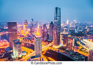tianjin at night - modern city skyline at night in tianjin ,...
