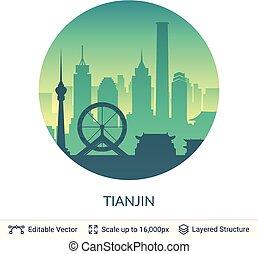 tianjin, célèbre, porcelaine, scape., ville