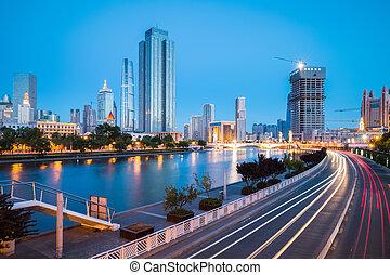 tianjin cityscape in night falls
