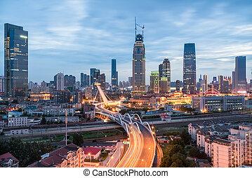 tianjin cityscape in nightfall