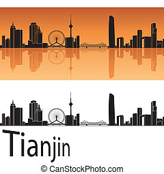 Tianjin skyline in orange background