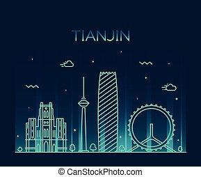 Tianjin skyline vector illustration line art