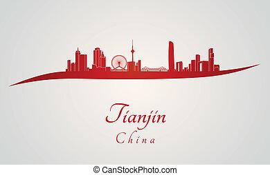 Tianjin, sylwetka na tle nieba, czerwony