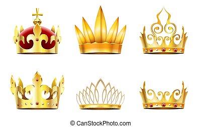 tiara., 金, 王冠, 君主, 王冠, ベクトル, セット, 女王, 王冠, 現実的, 皇族, 金