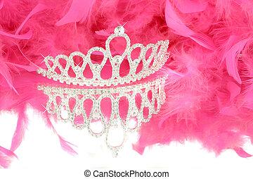 tiara and boa - sparkling tiara with reflection and pink boa...