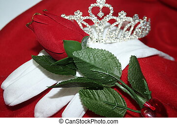 tiara and rose - a silver tiara and silk rose