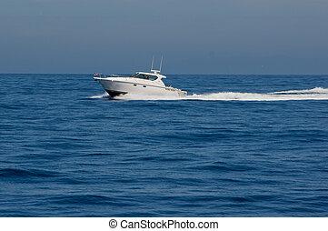 Tiara Cabin Cruiser Underway - White Tiara cabin cruiser...