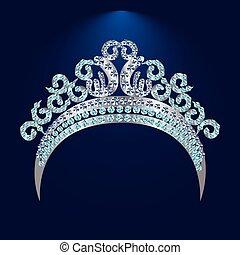 tiara, con, azul, piedras, y, diamantes