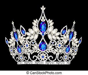 tiara, coroa, mulheres, casório, com, um, pedra azul