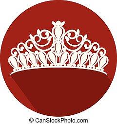 tiara, corona, mujeres, boda, con, piedras, plano, diseño, icono