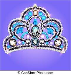 tiara, corona, mujeres, boda, con, un, piedra azul