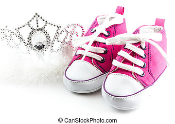 Tiara crown and baby shoes - diadem