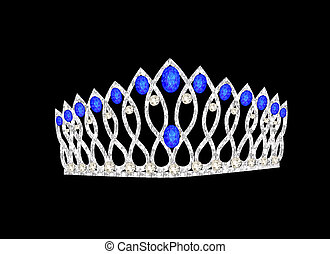 tiara crown women's wedding on the black - illustration...