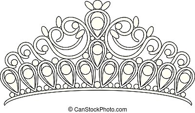 tiara crown women's wedding with stones drawing
