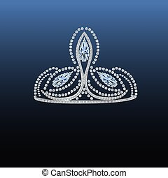 tiara, diamant, vektor, -, abbildung