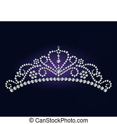 tiara, diament, wektor, -, ilustracja