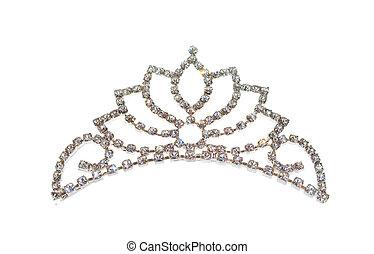 tiara, eller, diadem, isolerat, vita