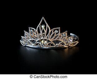 tiara, eller, diadem, med, färgrik, gnistranden, på, svart...