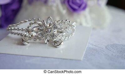 tiara, für, der, braut, silber, auf, der, video, tisch