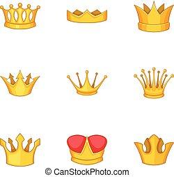 Tiara icons set, cartoon style