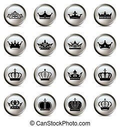 tiara, jogo, coroa, prata, ícones
