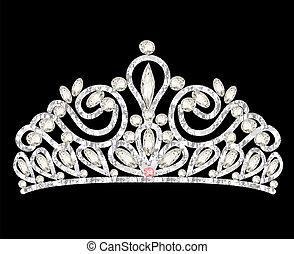 tiara, korona, damski, ślub, z, białe kamienie