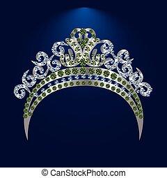 tiara, mit, grün, steine, und, diamanten