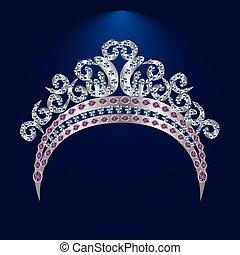 tiara, mit, rosa, steine, und, diamanten