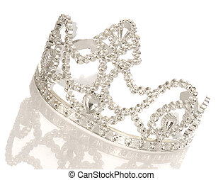 tiara or crown with reflection isolated on white background